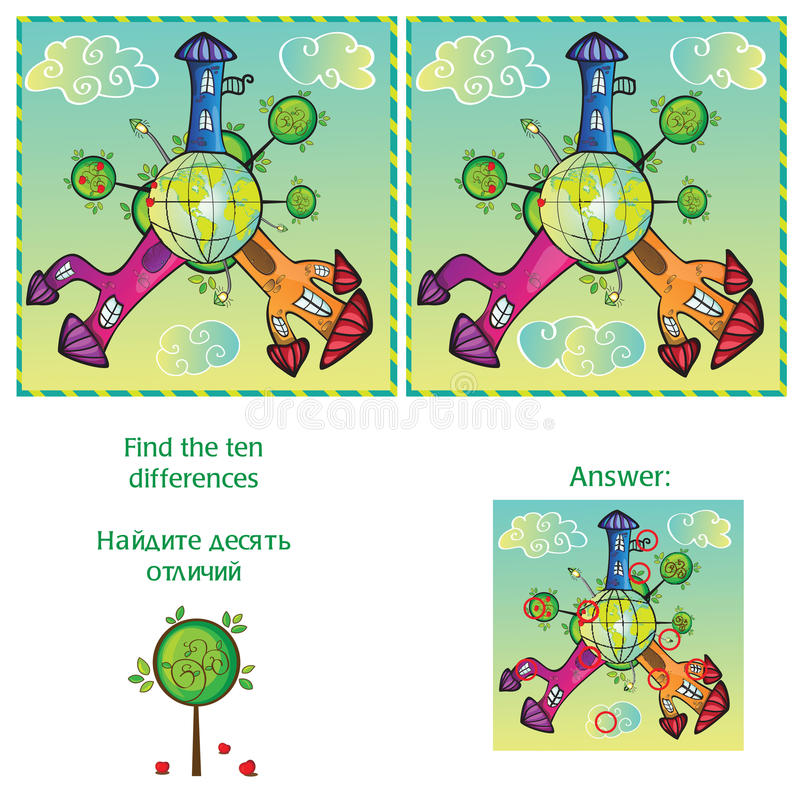 视觉比赛-发现与答复的10个区别 库存例证