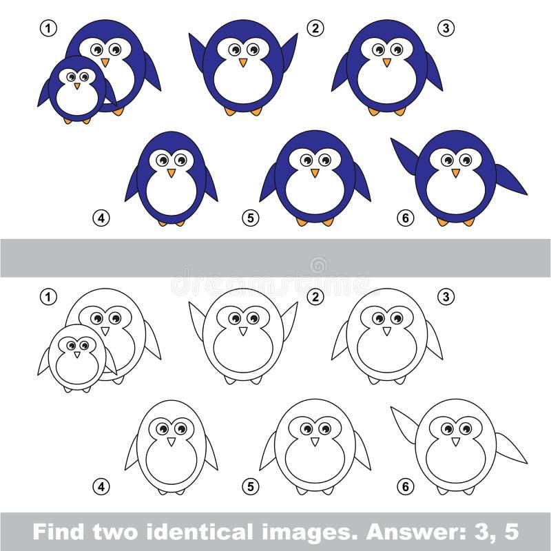 视觉比赛 发现企鹅暗藏的夫妇  向量例证
