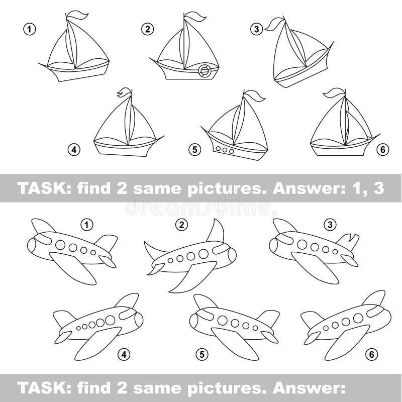 视觉比赛 发现小船和飞机暗藏的夫妇  库存例证