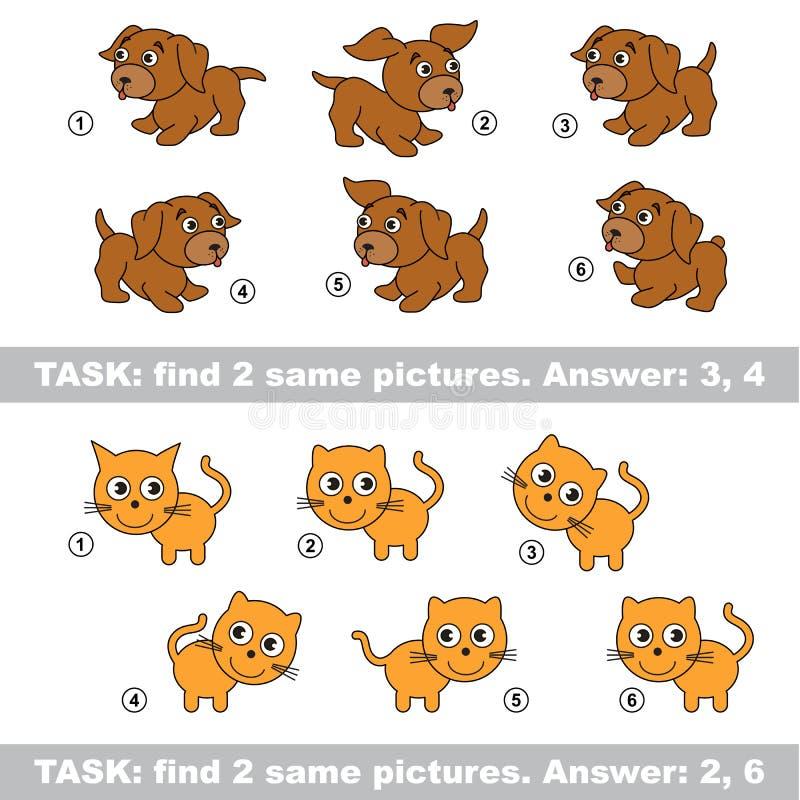 视觉比赛 发现狗和猫暗藏的夫妇  库存例证