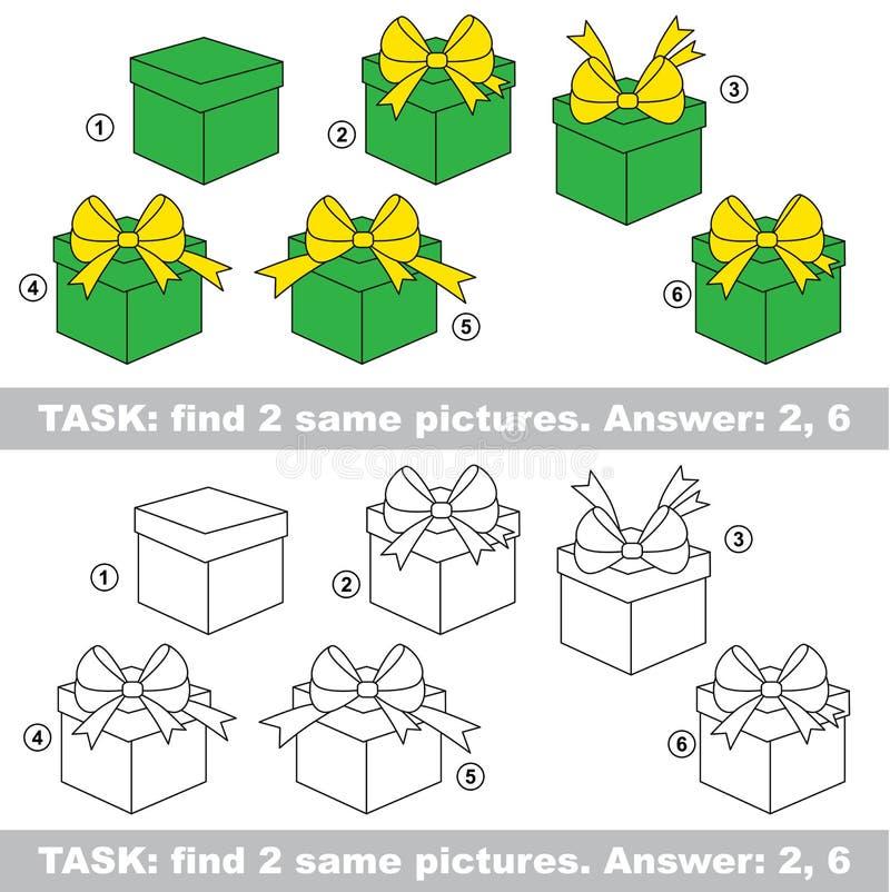视觉比赛 发现礼物暗藏的夫妇  库存例证