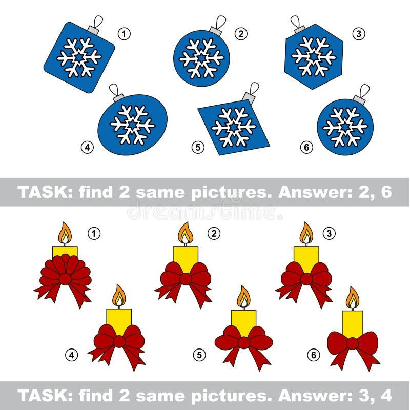 视觉比赛 发现蜡烛和玻璃球暗藏的夫妇  向量例证