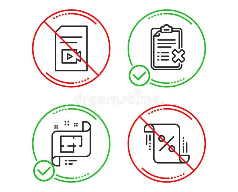 视频文件、废弃物清单和体系结构计划象集合 r ?? 库存例证