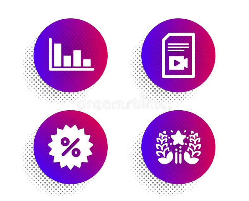 视频文件、折扣和直方图图标集 排名符号 Vlog页,特别优惠,经济趋势 矢量 向量例证