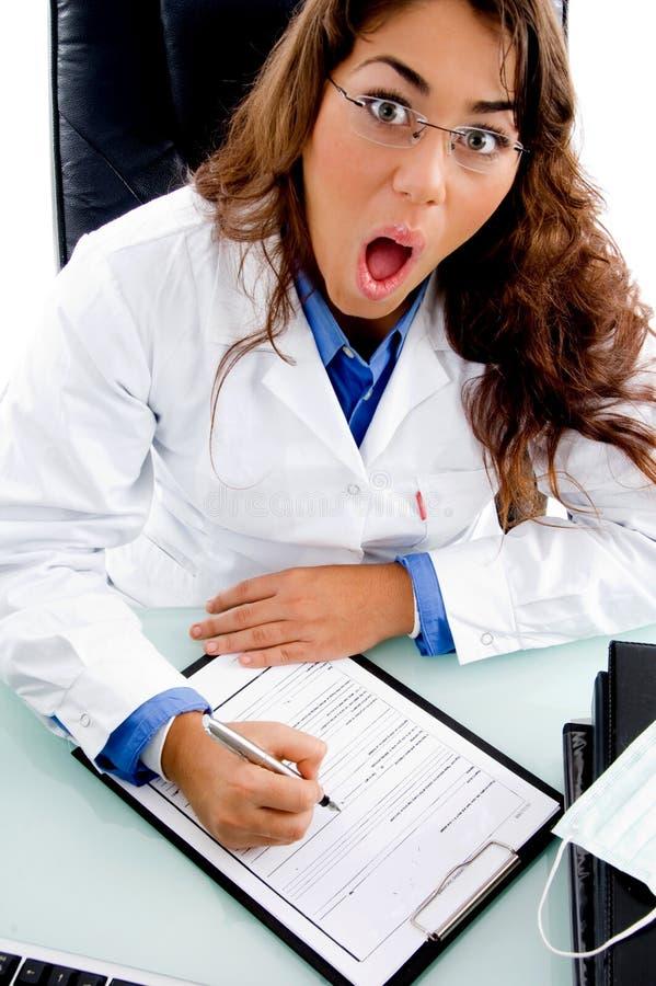 角度医生表面滑稽的高做的视图 库存照片