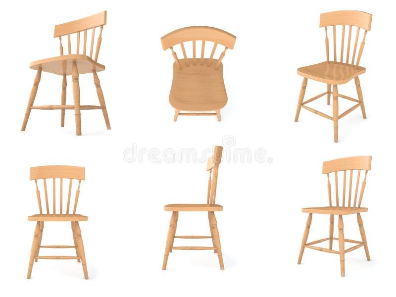 角度椅子不同木 库存例证
