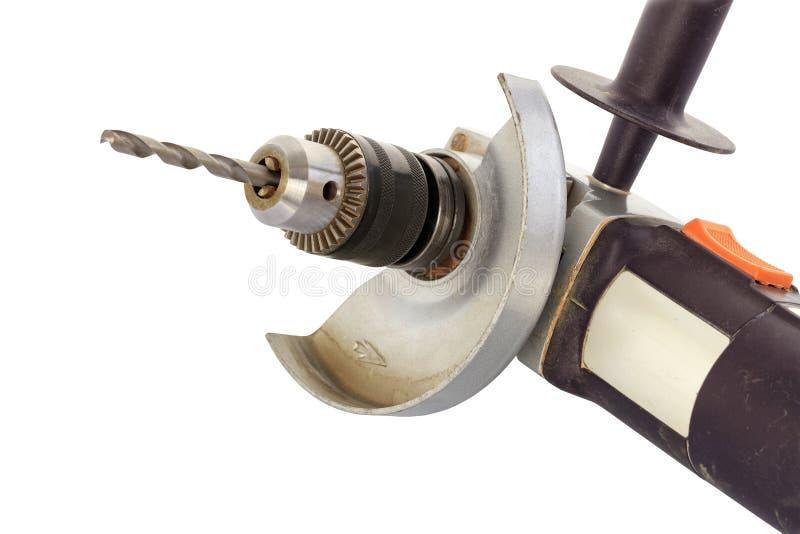 角度研磨机钻子、金属被锁上的钻子牛颈肉、稳定的牛颈肉交换器和钻子在白色背景,被隔绝,特写镜头 库存照片