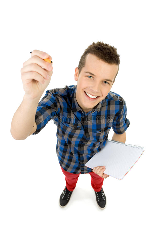角度高学员查阅文字 库存图片