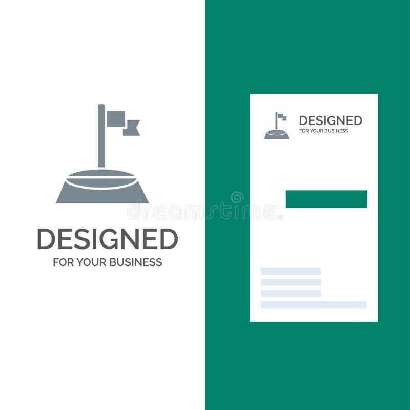 角落、旗子、高尔夫球、体育灰色商标设计和名片模板 向量例证