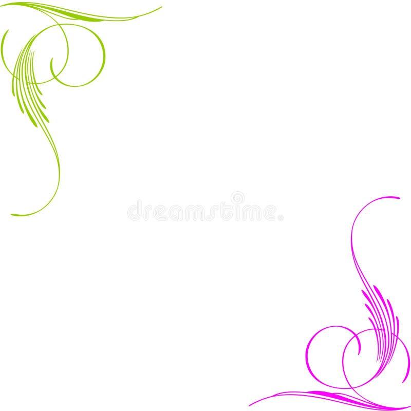 角落绿色粉红色漩涡 免版税图库摄影