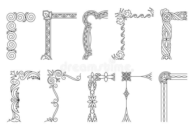 角落设计元素,与美好的金银细丝工,装饰边界的葡萄酒框架 r 向量例证