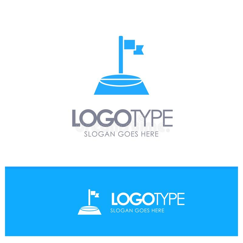 角落,旗子,高尔夫球,与地方的体育蓝色坚实商标口号的 库存例证