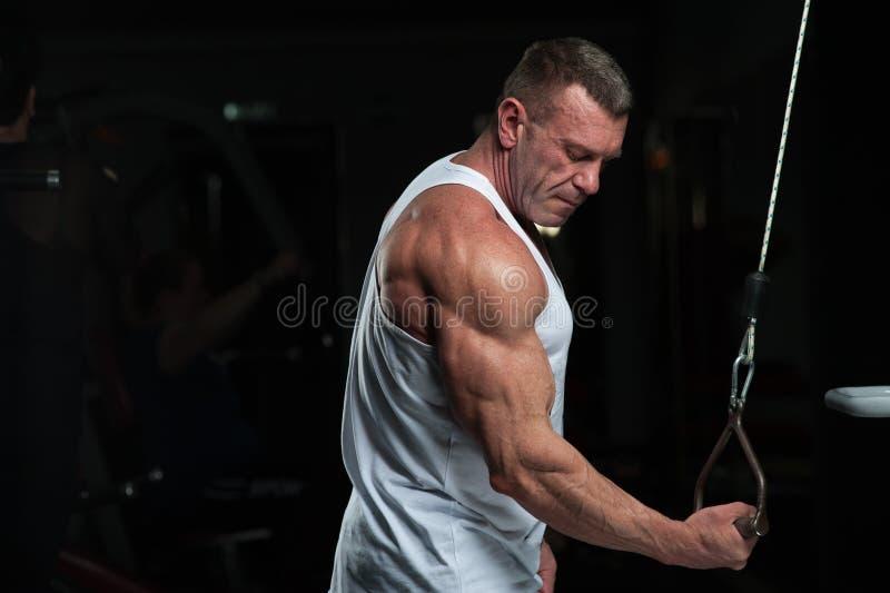 解决在健身房的坚强的成熟人 免版税库存图片