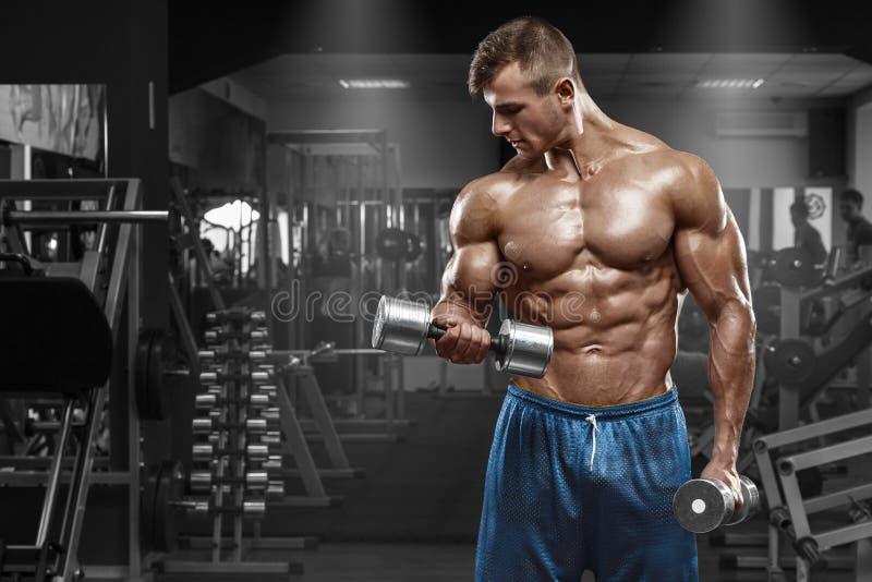 解决在健身房的肌肉人做与哑铃的锻炼在二头肌,强的男性赤裸躯干吸收 免版税库存照片