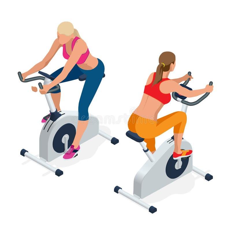 解决在锻炼脚踏车的健身妇女在健身房 背景查出的白色 做骑自行车在健身房的体育 库存例证
