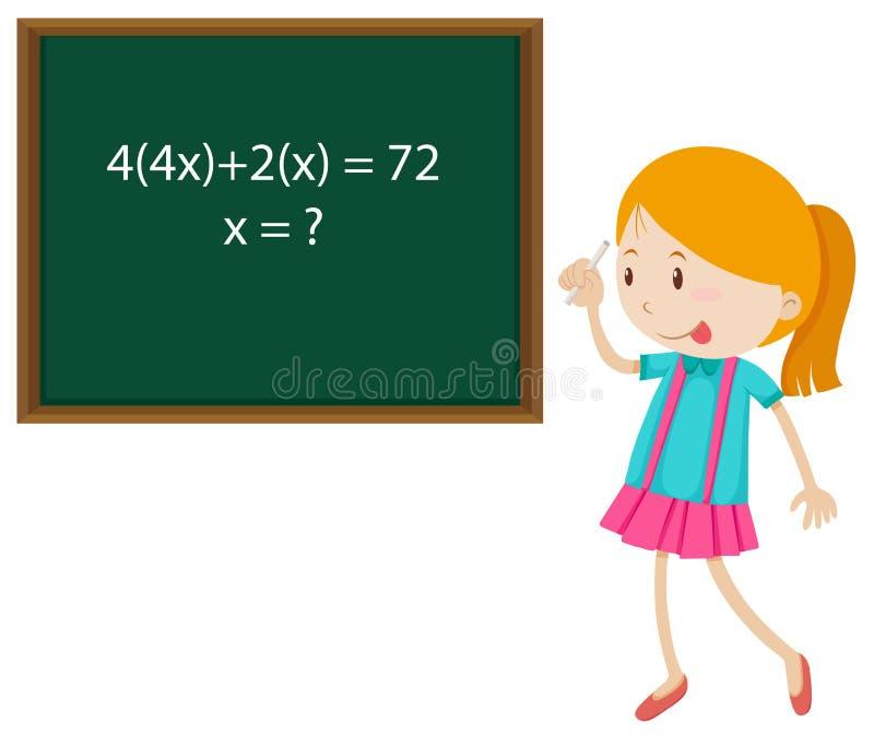 解决数学题的小女孩 皇族释放例证