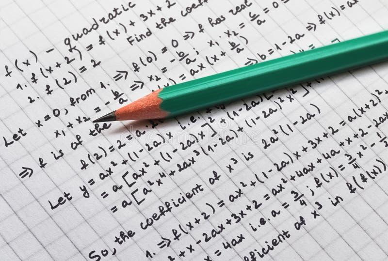 解决数学题 免版税库存照片