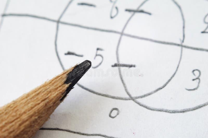 解决的数学题,必须使用计算技能 铅笔我 库存照片