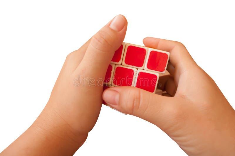 解决的难题rubik立方体 免版税库存照片