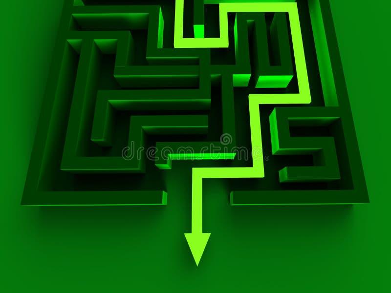 解决迷宫显示难题出口 库存例证