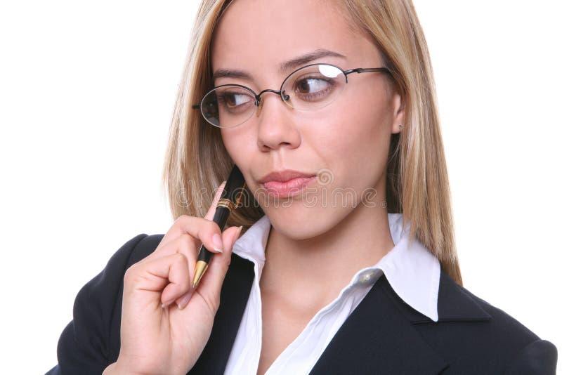 解决问题女商人 免版税库存照片