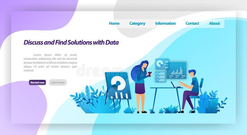 解决问题谈论并且找到方法通过分析数据 见面为企业对话的工作者 传染媒介l的例证概念 库存例证
