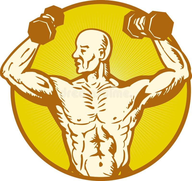 解剖学屈曲人力男性肌肉的车身制造厂 皇族释放例证