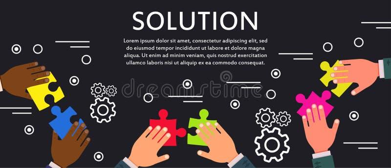 解答企业概念通讯技术传染媒介象 成功想法工作标志 人管理难题战略集合 Cre 向量例证