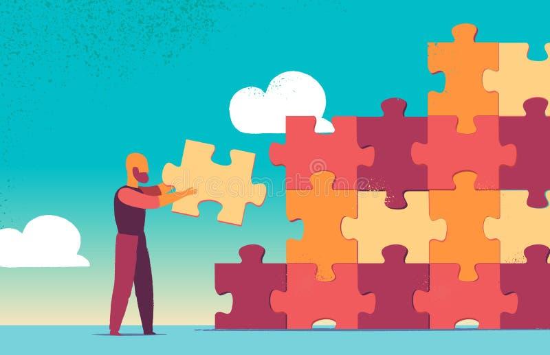 解答和成功、战略和难题设计 库存例证