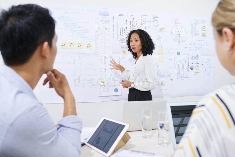 解释图的女实业家对同事 免版税库存照片
