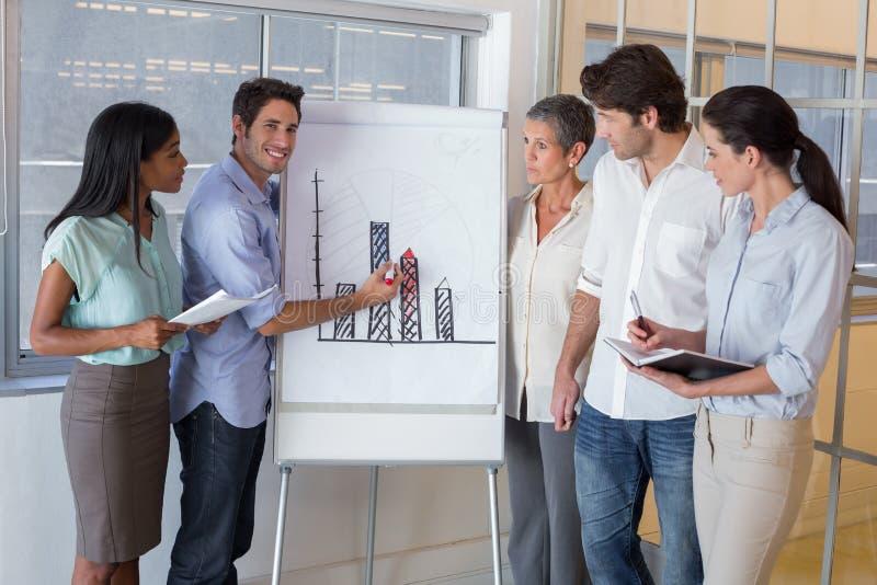 解释图表的商人对工友 免版税库存照片
