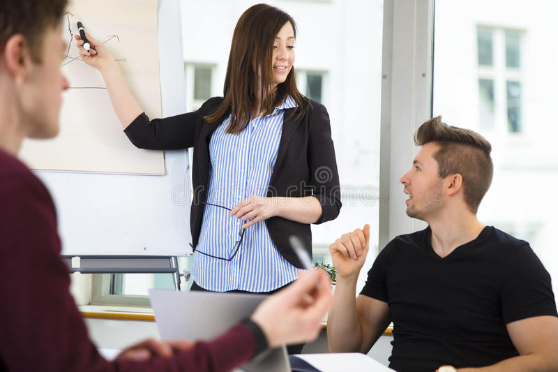 解释图表的女实业家对同事在办公室 图库摄影