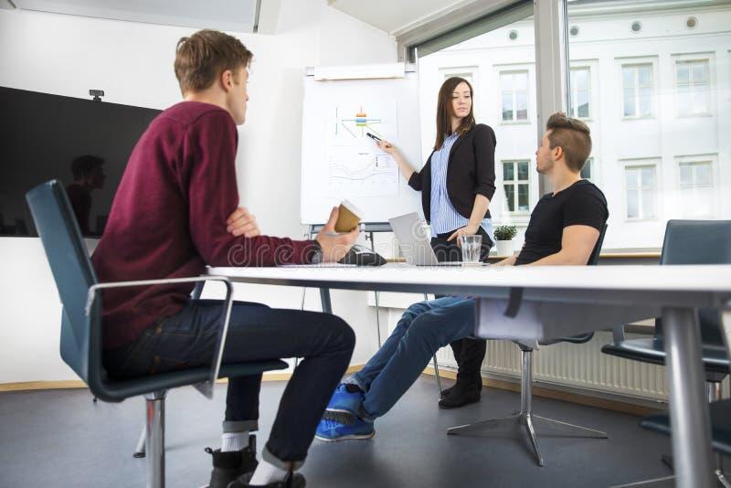 解释图表的女实业家对工友在办公室 免版税库存照片