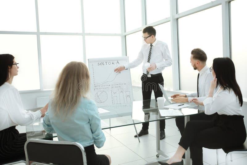 解释对他的同事新的经营计划的雇员 免版税库存照片