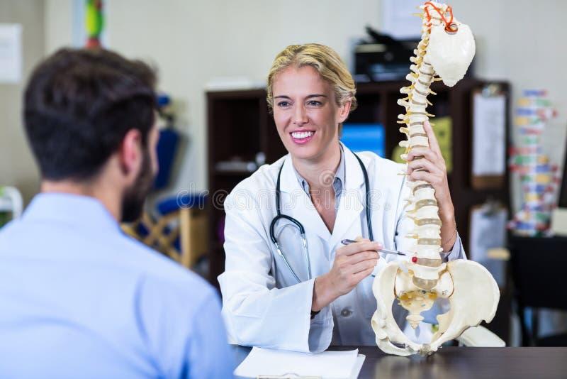 解释脊椎模型的生理治疗师对患者 免版税库存图片