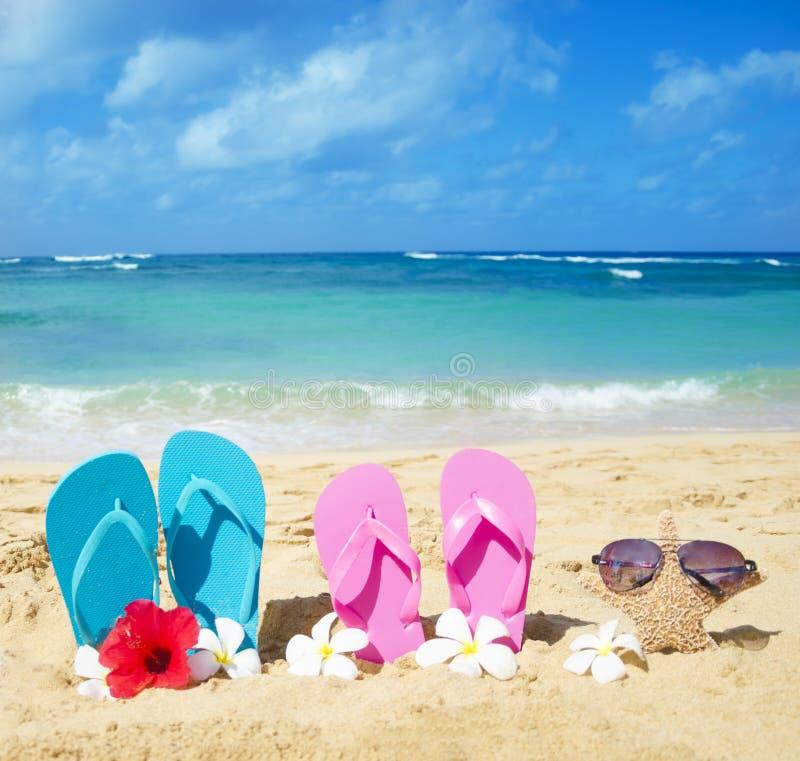 触发器和海星与太阳镜在沙滩 免版税库存图片