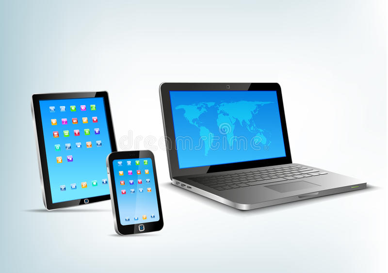 触感衰减器,笔记本,手机传染媒介perspectiv 库存例证