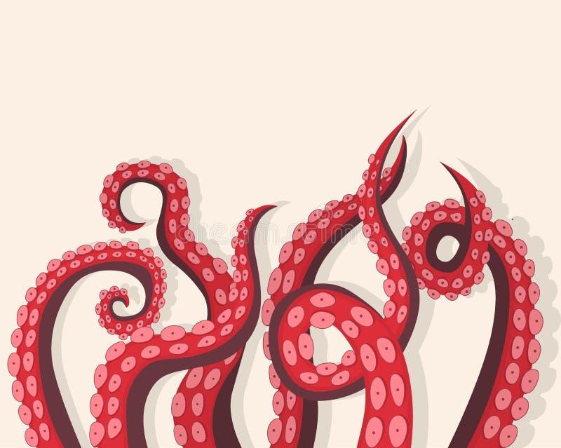 触手章鱼水下的海生动物背景卡片 向量 向量例证
