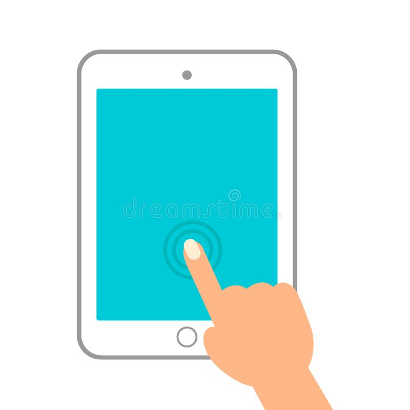 触摸屏片剂个人计算机标志象 手尖标志 皇族释放例证