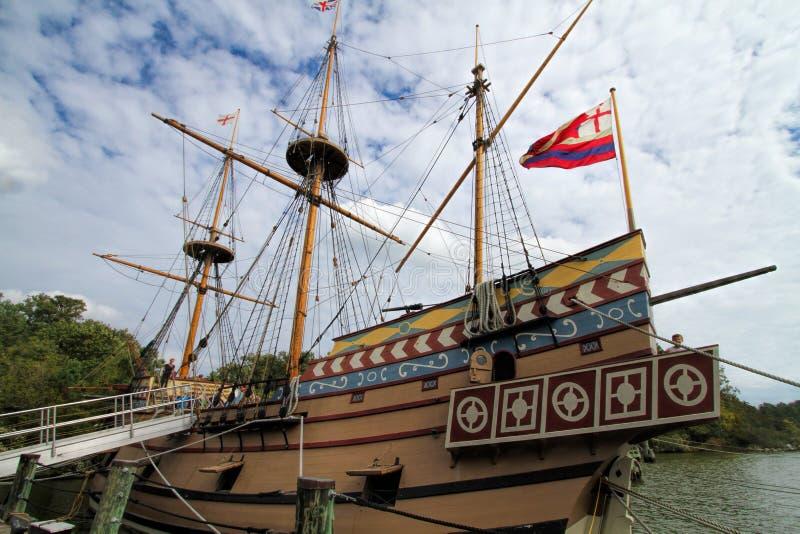 詹姆斯敦解决英国帆船 库存照片
