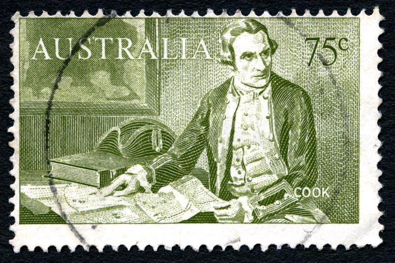 詹姆斯・库克上尉澳大利亚邮票 免版税图库摄影