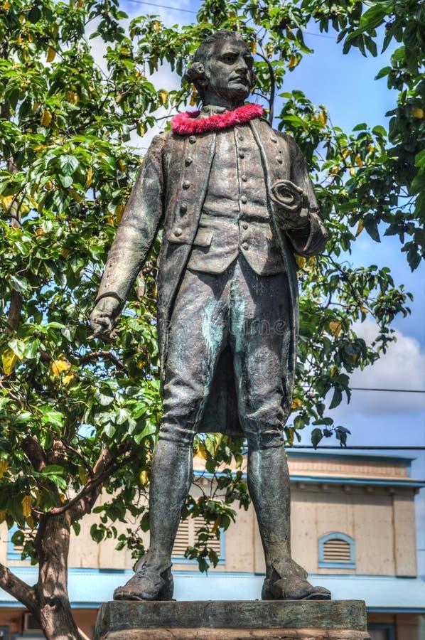 詹姆斯・库克上尉雕象考艾岛夏威夷 免版税库存照片