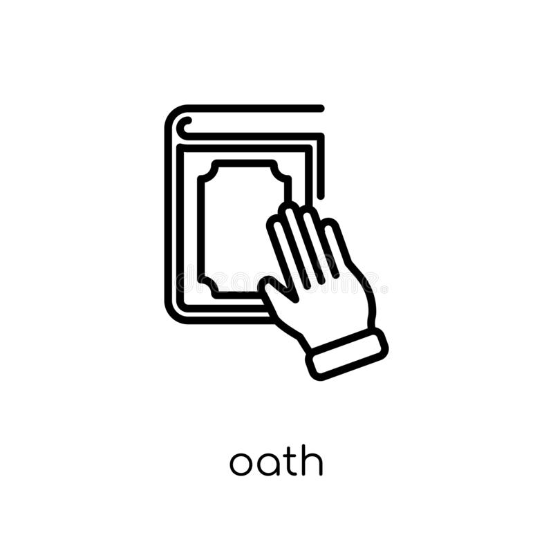 誓言象 在白色b的时髦现代平的线性传染媒介誓言象 向量例证