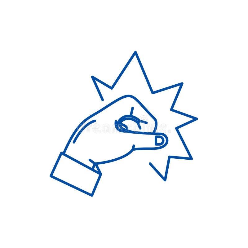 警句象概念 拳打平的传染媒介标志,标志,概述例证 向量例证