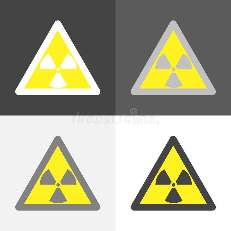 警告关于辐射危害标志的传染媒介集合图象 库存例证