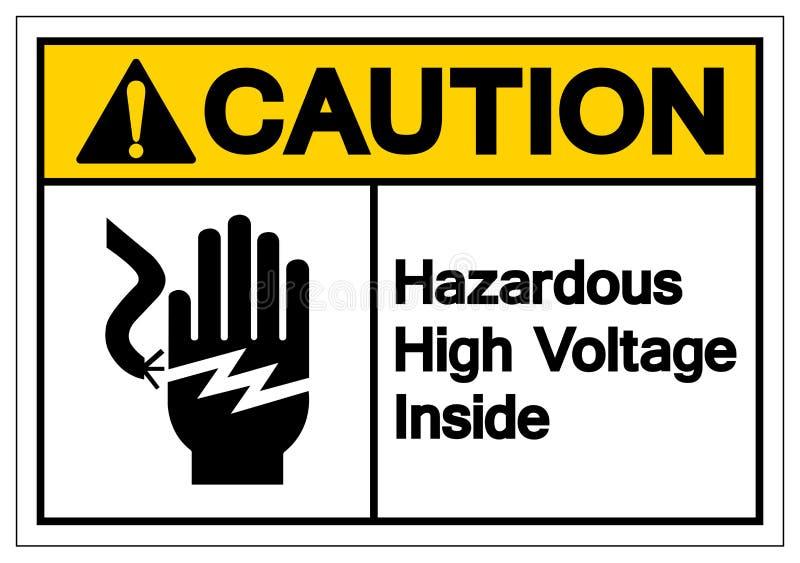 警告在标志标志,传染媒介例证,在白色背景标签的孤立里面的危害高压 EPS10 库存例证