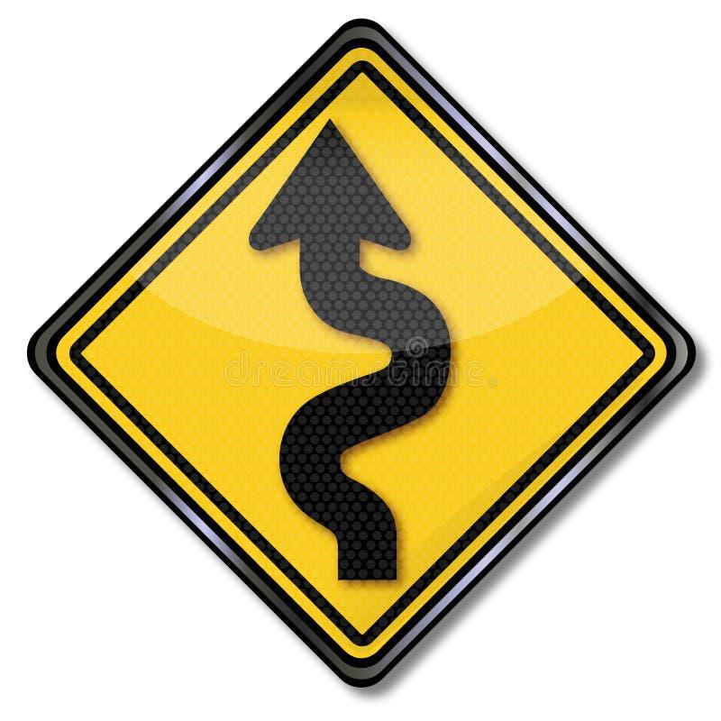 警告弯曲的路和曲线 皇族释放例证