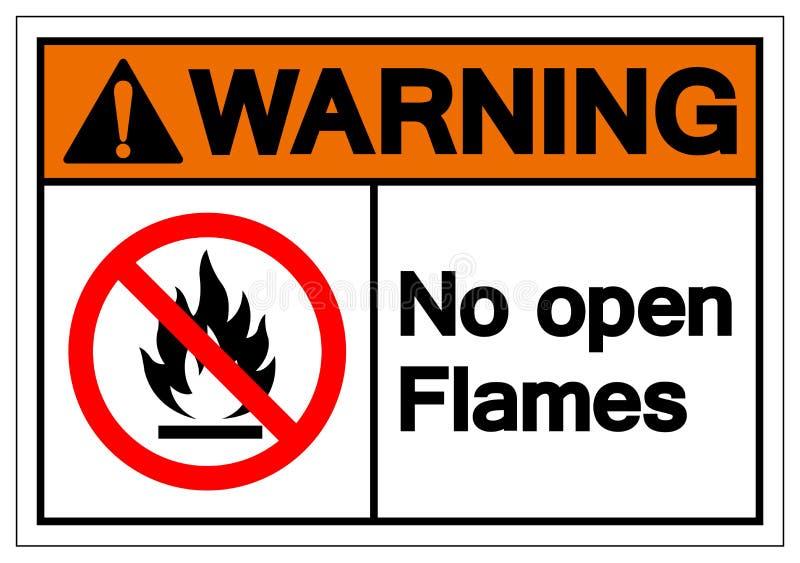 警告明火标志标志,传染媒介例证,在白色背景标签的孤立 EPS10 皇族释放例证