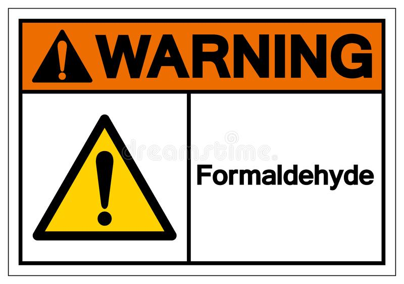 警告甲醛标志标志,传染媒介例证,在白色背景标签的孤立 EPS10 皇族释放例证
