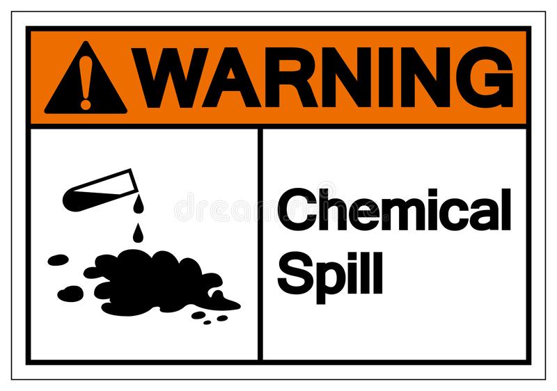 警告的化工溢出标志标志,传染媒介例证,在白色背景标签的孤立 EPS10 皇族释放例证